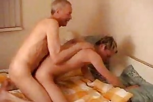 old fart fucking his younger ally in doggy style