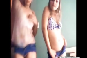 mother and daughter dance on webcam