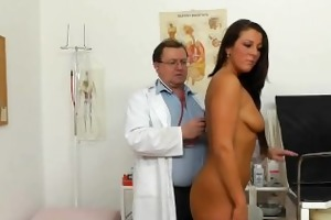 ella rubs her snatch whilst examined by medic