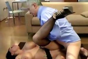 mature lad copulates a sexy younger stocking