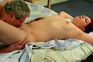old non-professional chap and trio youthful vagina