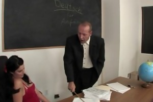 sexually excited schoolgirl sucks and copulates