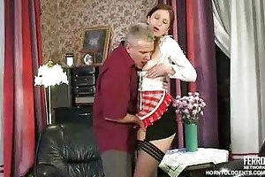 old schlong copulates youthful russian maid