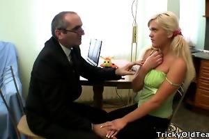 lewd professor seduces hid dumb golden-haired