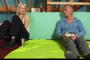 shy oldman tempted and screwed by cocky hussy