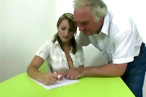 blonde czech student passes exam being screwed by