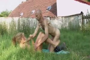 old fellow eats his sons gf cum-hole in the fields