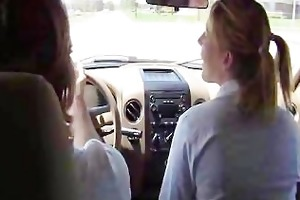 stepdaughter blows daddy in the truck.