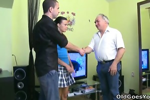 tina receives splattered in cum when the old guy
