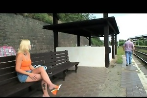 old stud blackmails cute blond wench for fuck