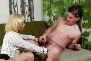 mature blond bawdy cleft rub and sucks younger boy