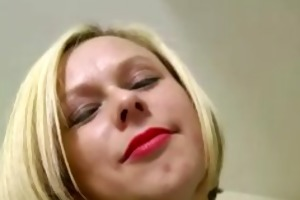 indecent blond in nylons fingers herself