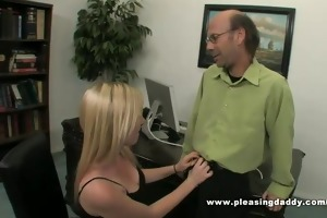 blonde wench tegan copulates her old hory boss to